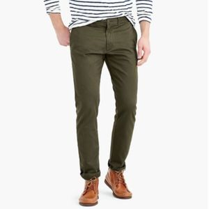 Men's J. Crew 484 Army Green Stretch Chino W33xL30